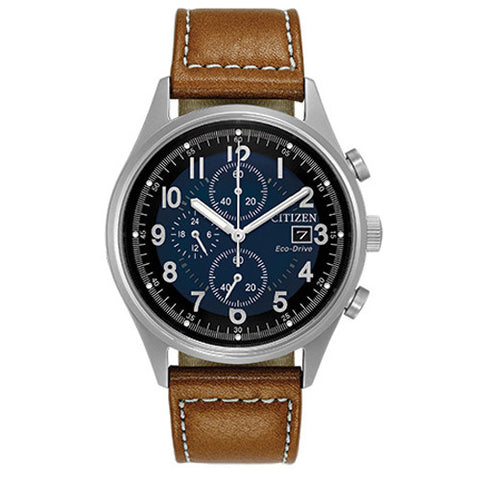 Men's Citizen Sports in stainless steel on leather CA0621-05L