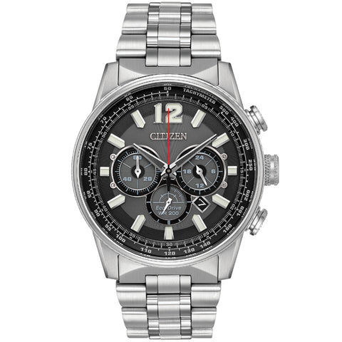 Men's Citizen Nighthawk Eco-Drive in stainless steel CA4370-52E