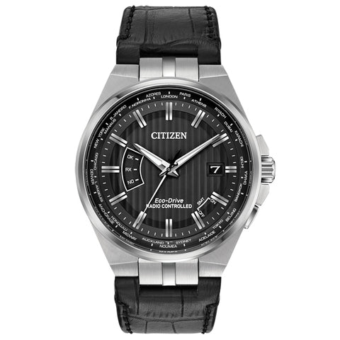 Citizen World Perpetual AT in stainless steel on leather CB0160-00E
