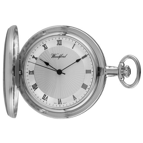Watch - Pocket watch with Albert chain in chrome plated metal model 1054  - PA Jewellery