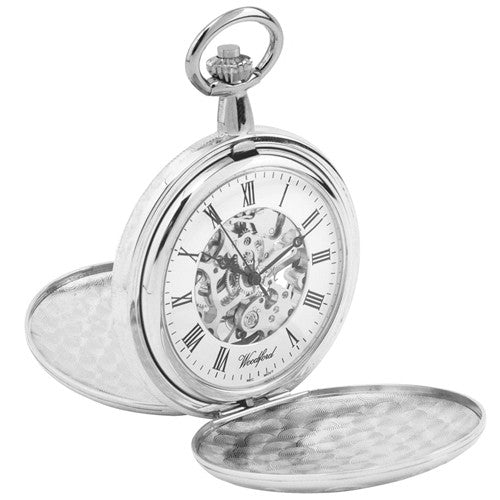 Watch - Pocket watch with Albert chain in chrome plated metal model 1062  - PA Jewellery
