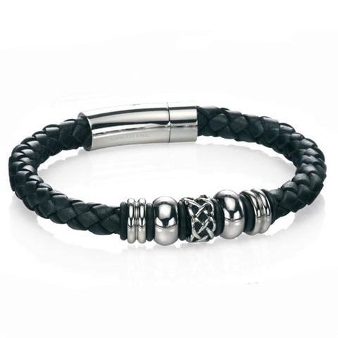Wristwear - Celtic bead bracelet in black leather and steel  - PA Jewellery