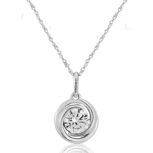 Cubic zirconia swirl pendant and chain in 9ct white gold