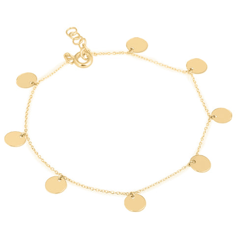Disc charm bracelet in 9ct gold