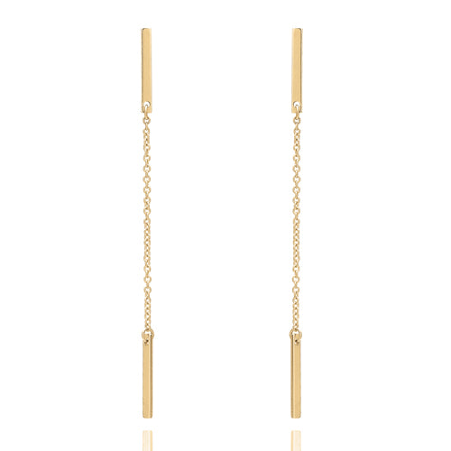 Bar and chain drop earrings in 9ct gold
