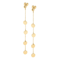 Disc and chain long drop earrings in 9ct gold