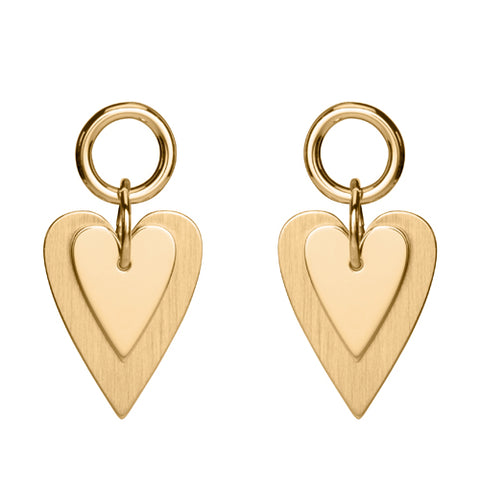 Double heart drop earrings in 9ct gold