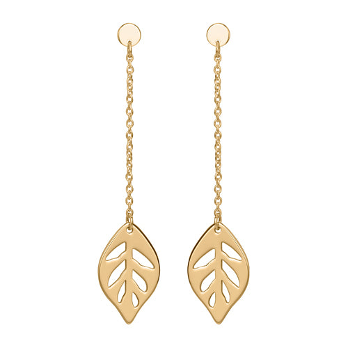 Leaf drop earrings in 9ct yellow gold