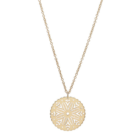 Floral cut-out disc pendant and chain in 9ct gold
