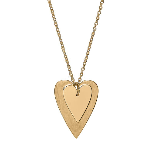 Double heart pendant and chain in 9ct gold