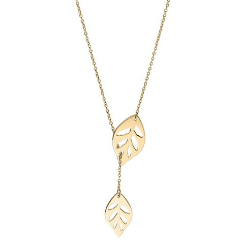 Leaf detail lariat style necklace in 9ct gold