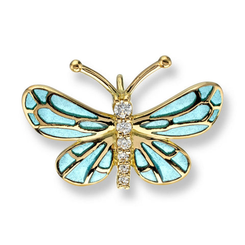 Neckwear - Butterfly pendant with enamel and diamonds in 18ct yellow gold  - PA Jewellery