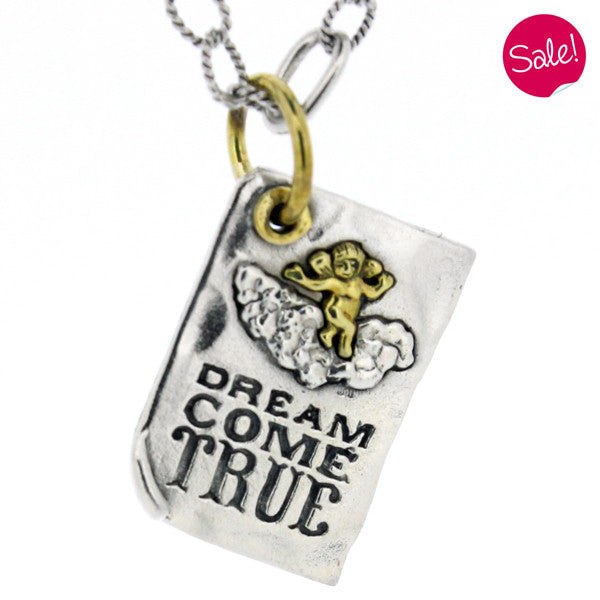 'Dream Come True' pendant and freshwater pearl chain in silver and brass