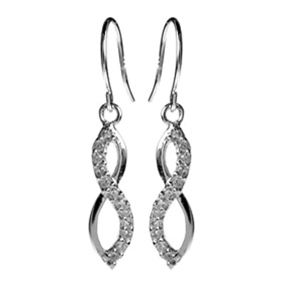 Cubic zirconia figure of eight drop earrings in silver