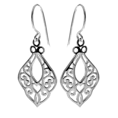 Filigree drop earrings in silver