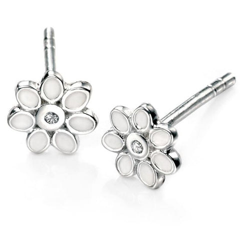 Diamond set flower stud earrings in silver