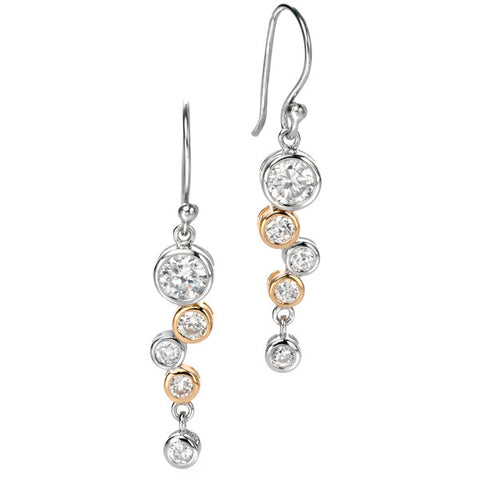 Earrings - 'Bianca' drop earrings in silver with gold plate CZ  - PA Jewellery