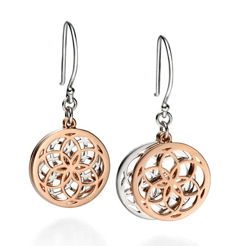 Cut-out detail drop earrings in silver with rose gold plating