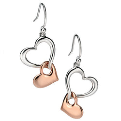 Earrings - Tumbling heart earrings in silver with rose gold plate  - PA Jewellery