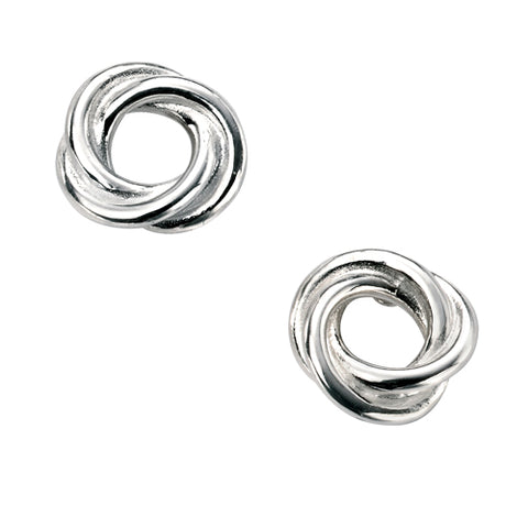 Open knot stud earrings in silver