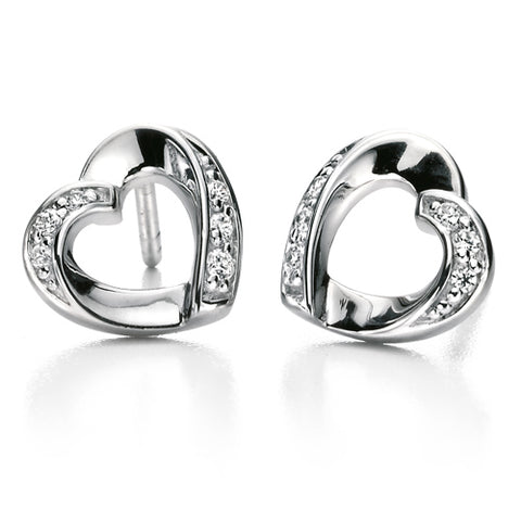 Cubic zirconia heart shape stud earrings in silver