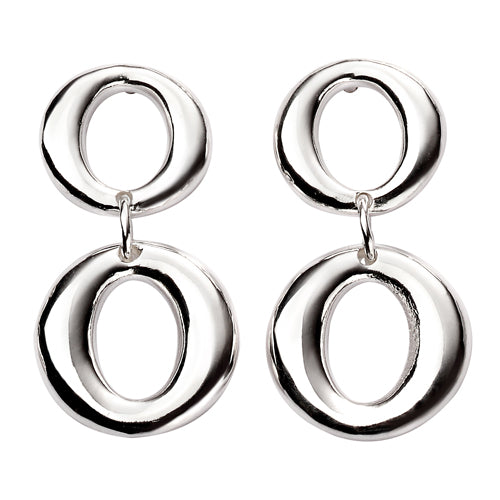 Double loop drop earrings in silver