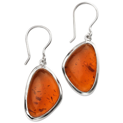 Pressed amber earrings in silver