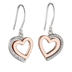 Cubic zirconia heart earrings in silver with rose gold plating