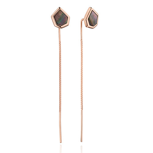 Black mother of pearl pull-through earrings in 9ct rose gold