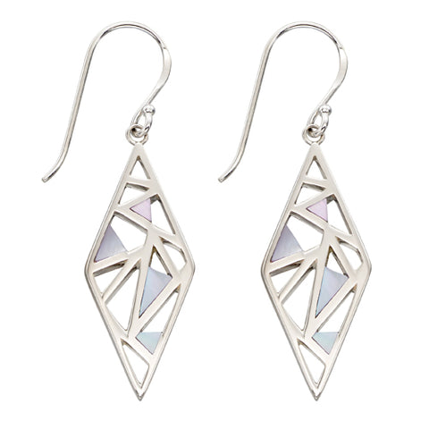 Mother-of-pearl inlay drop earrings in silver