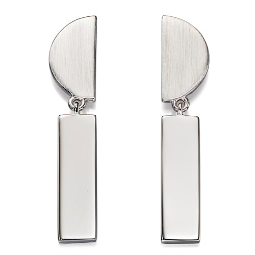 Geometric shape drop earrings in silver