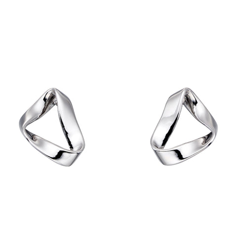 Folded triangular earrings in silver