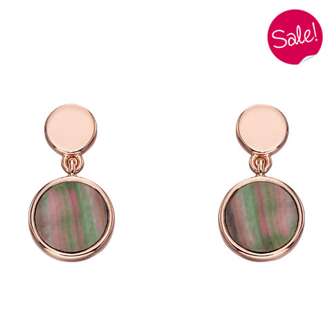 Mother of pearl drop earrings in silver with rose gold-plating