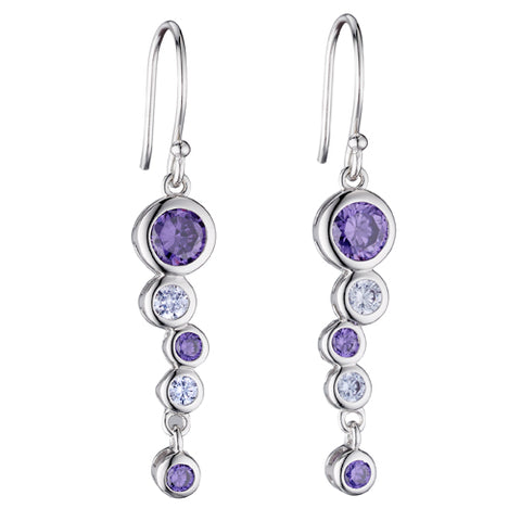 Purple cubic zirconia bubble drop earrings in silver