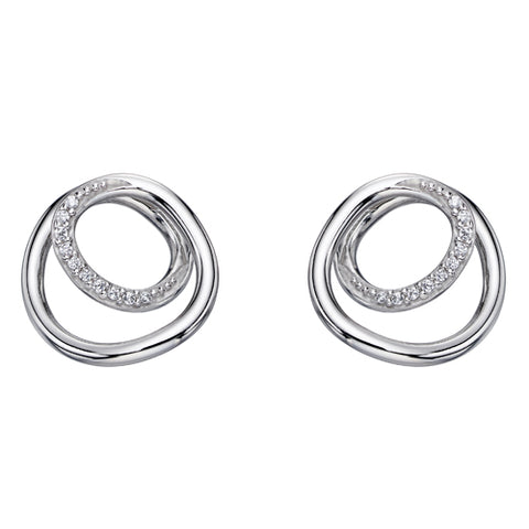 Cubic zirconia twisted circle earrings in silver
