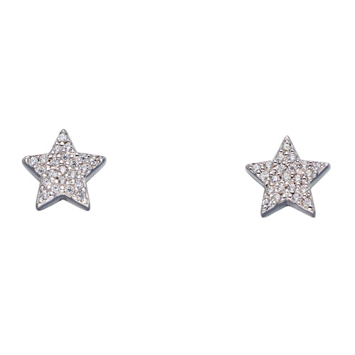 Cubic zirconia star earrings in silver