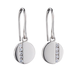 Cubic zirconia disc drop earrings in silver