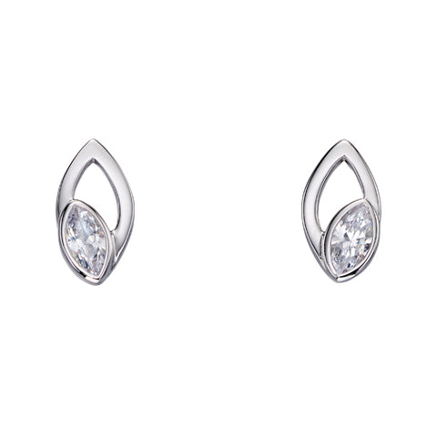 Marquise cut cubic zirconia earrings in silver