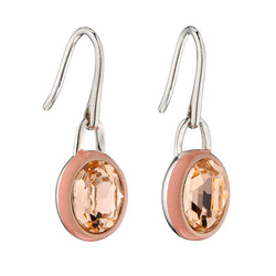 Peach crystal and enamel drop earrings in silver