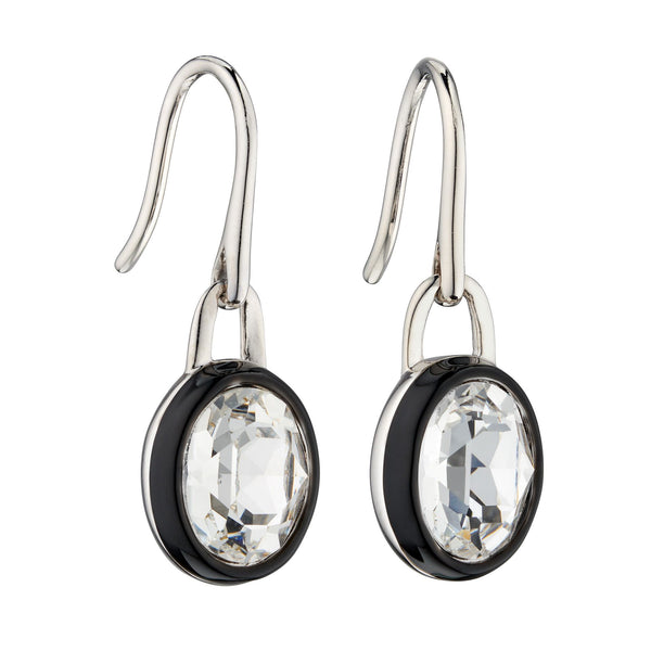 Monochrome crystal and enamel drop earrings in silver