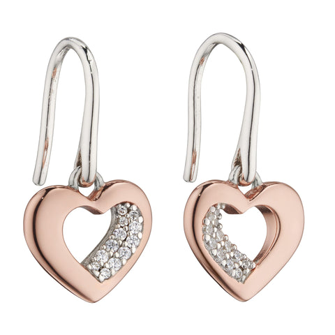 Cubic zirconia heart drop earrings in silver with rose gold plating