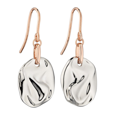 'Crinkle' drop earrings in silver with rose gold-plating