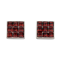 Square burgundy crystal stud earrings in silver