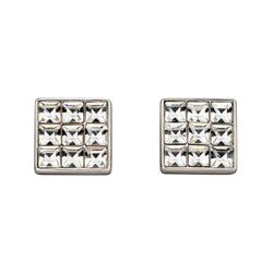 Square crystal stud earrings in silver
