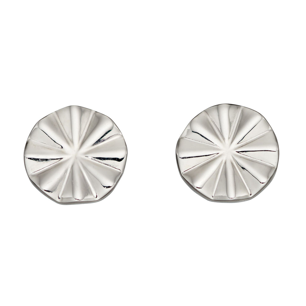 Bevelled disc stud earrings in silver