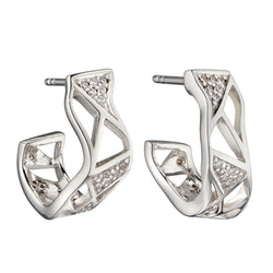 Cubic zirconia folded half-hoop earrings in silver