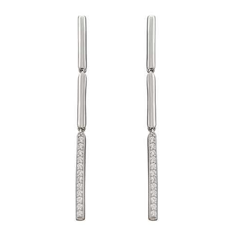 Cubic zirconia stick drop earrings in silver