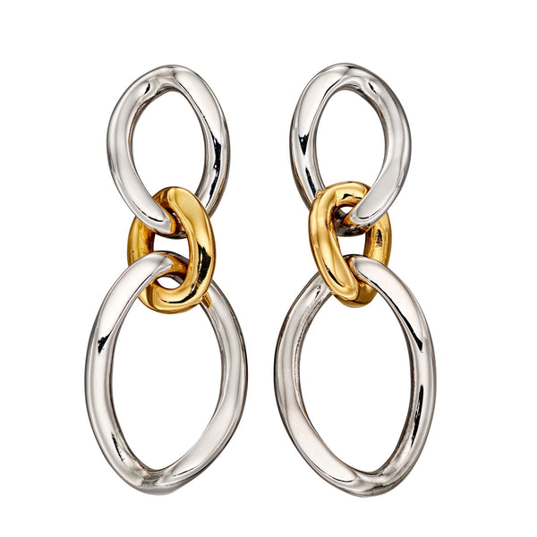 Looped drop earrings in silver with gold plating