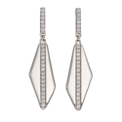 Cubic zirconia asymmetrical earrings in silver