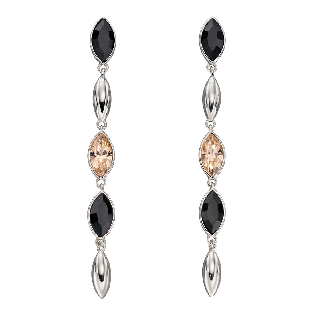 Black and peach marquise crystal drop earrings in silver